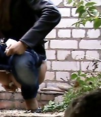 Careful outdoor pissing action spycamed