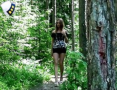 Spy with us – see a skinny teen piss in the woods