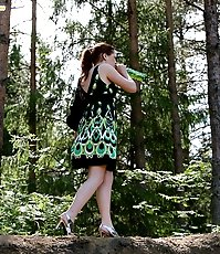 Drinking gingerhead empties her bladder outdoors