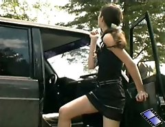 Nice teen peeing near car