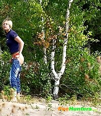 Perverted blonde flasher teen pisses in forest