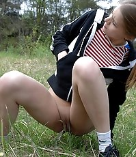 Perverted flasher teen pisses in forest